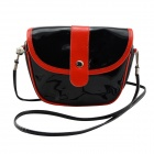 Fashionable Waterproof Leather Messenger Bag for Women - Black + Red