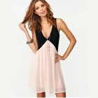Deep V-neck Sleeveless Chiffon Vest Dress - Black + Pink (Size XL)