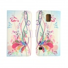 Butterfly Pattern Drawing PU Leather Plastic Case for Samsung Galaxy S5 - White + Multi-Colored