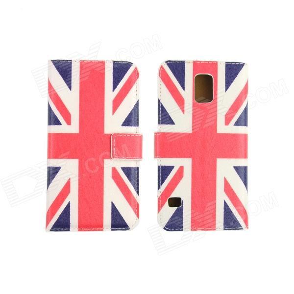 Flag of UK Pattern Drawing PU Leather Plastic Cover Case for Samsung Galaxy S5 - Blue + White + Red card holder wallet with stand flip magnetic pattern full body case cover uk flag pu tpu leather for samsung galaxy note 8