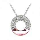 Angibabe Crystal Concentric Necklace - Silver + Pink