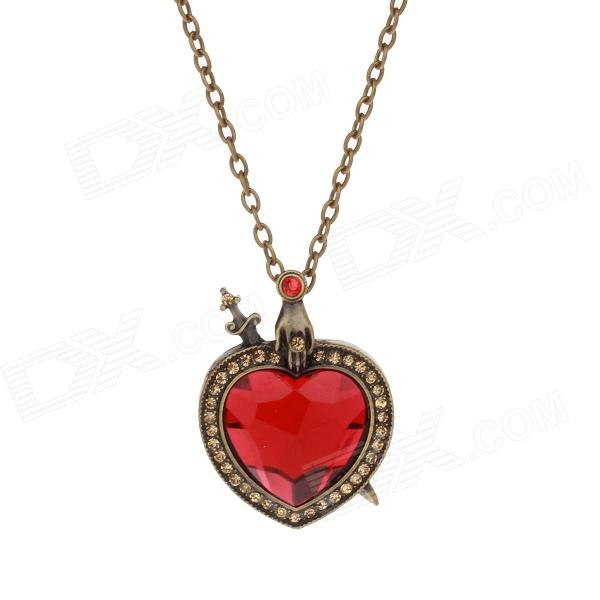 Retro Shiny Rhinestone Heart Shape Pendant Zinc Alloy Sweater Chain / Necklace - Bronze + Red
