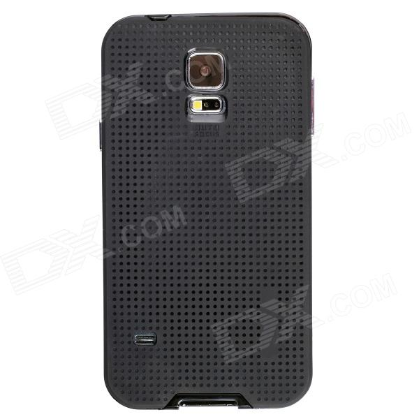 Fashionable PC + TPU + Aluminum Alloy Protective Back Case for Samsung Galaxy S5 - Black protective aluminum alloy pc back case for samsung galaxy note 3 n9000 more red black