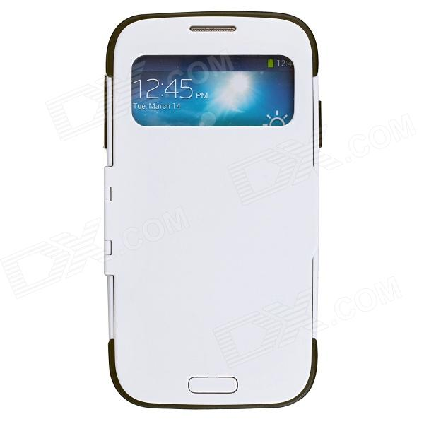 Protective Flip Open Case w/ Display Window for Samsung Galaxy S4 i9500 - White