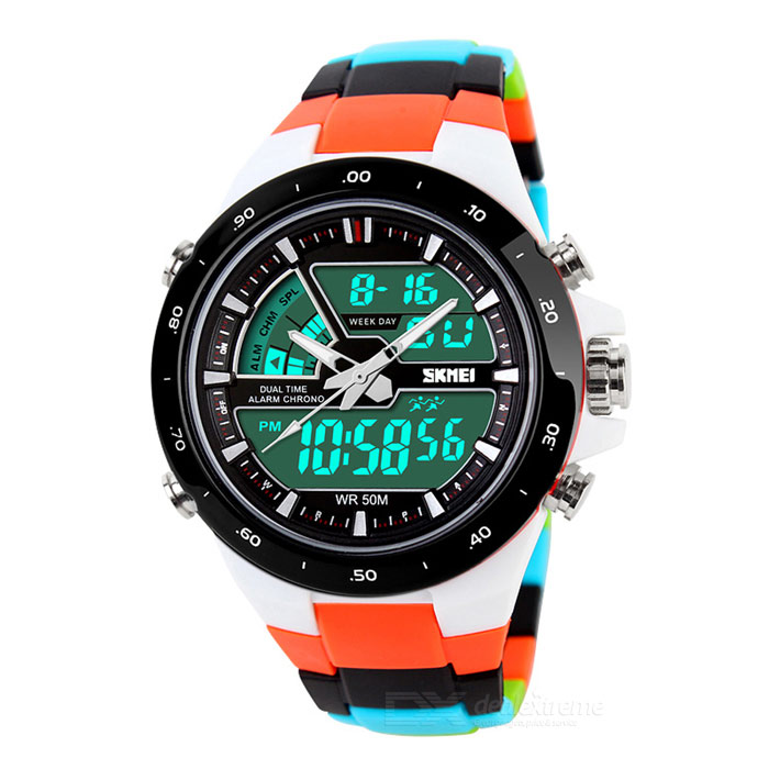 SKMEI 1016 Mens Waterproof Analog + Digital Watch - Black + OrangeSport Watches<br>Form  ColorBlack + Orange + Multi-ColoredBrandSKMEIModel1016Quantity1 pieceShade Of ColorMulti-colorCasing MaterialPCWristband MaterialStainless steel + PUSuitable forAdultsGenderMenStyleWrist WatchTypeSports watchesDisplayAnalog + DigitalBacklightBlueMovementOthers,Quartz + digitalDisplay Format12/24 hour time formatWater ResistantWater Resistant 5 ATM or 50 m. Suitable for swimming, white water rafting, non-snorkeling water related work, and fishing.Dial Diameter4.5 cmDial Thickness1.4 cmWristband Length24 cmBand Width2 cmBattery1 x CR2016 (included)<br>1 x SR626S  (included)Packing List1 x  Watch1 x Chinese and English user manual<br>