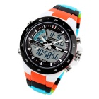 SKMEI 1016 Men's Waterproof Analog + Digital Watch - Black + Orange