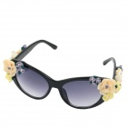 OUMILY Elegant 3D Rose Decorated UV400 Sunglasses - Black
