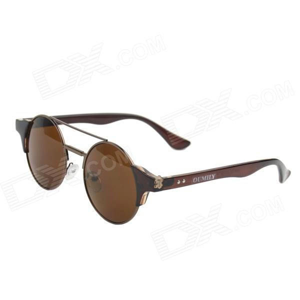 OUMILY Unisex Retro Round Zinc Alloy Frame Sunglasses -Brown + Tawny