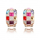 Women's Fashionable Queen Style Rhinestone Inlaid Earrings - Multi-Colored (Pair)