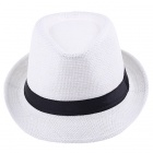 Solid Braid Fedora Trilby Cap Summer Beach Sun Straw Panama Hat - White