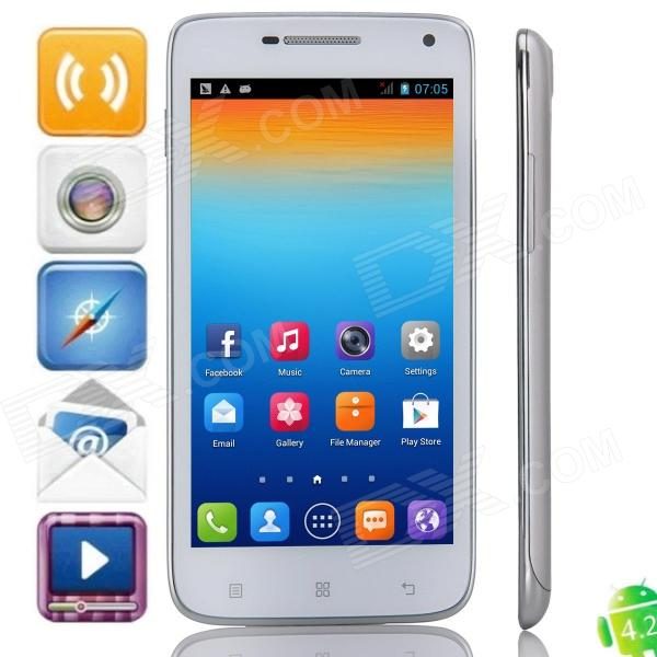 Z.doxio S960 MTK6572 Dual-Core Android 4.2.2 WCDMA Bar Phone w/ 5.0 IPS, 5.0MP, Wi-Fi, FM - Silver