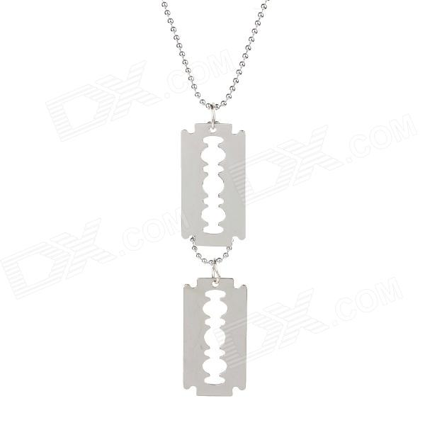 Creative Blade Shaped Plastic Chain Stainless Steel Pendant Necklace - Silver