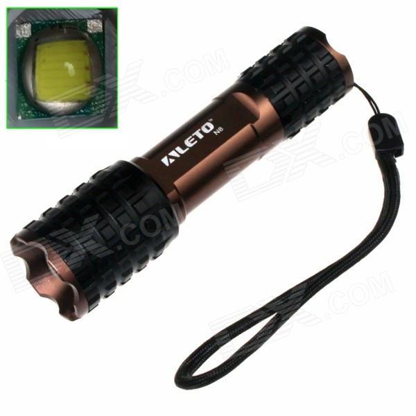 ALETO KL218 LED 900lm 5-Mode Zooming Flashlight - Black + Coffee (1 x 18650)