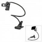 Universal Double Clips Desktop Flexible Neck Clip Holder Stand for Cellphone - Black
