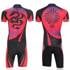 XINTOWN Bicycle Cycling Sweat-absorbent Short Sleeves Dacron Jersey + Pants Set - Red + Black (L)