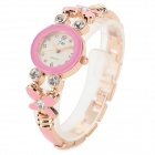 3394 Women's Four-leaf Style Zinc Alloy Band Analog Quartz Wristwatch w/ Rhinestone - Pink (1x377)
