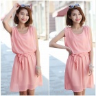 Fashionable Sleeveless Chiffon Dress w/ Waistband - Pink (XL)