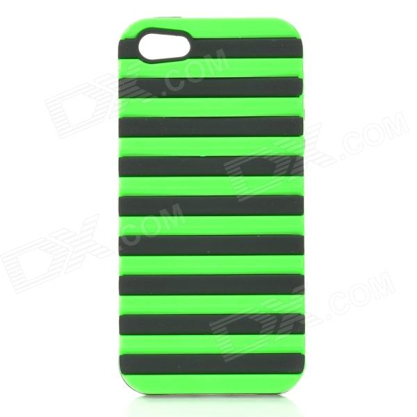 Protective Ladder Style Silicone + PC Back Case Cover for IPHONE 5 / 5S - Green + Black protective silicone soft back case cover for iphone 5 white