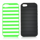Estilo Ladder protectora funda de silicona + PC Back for IPHONE 5 / 5S - Verde + Negro