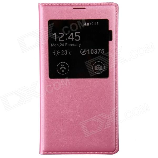 PU Leather Flip-Open Case w/ Auto-Sleep / Chipset / Display Window for Samsung Galaxy S5 - Pink pu leather flip open case w auto sleep chipset display window for samsung galaxy s5 pink