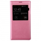 PU Leather Flip-Open Case w/ Auto-Sleep / Chipset / Display Window for Samsung Galaxy S5 - Pink