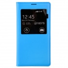 PU Leather Flip-Open Case w/ Auto-Sleep / Chipset / Display Window for Samsung Galaxy S5 - Blue