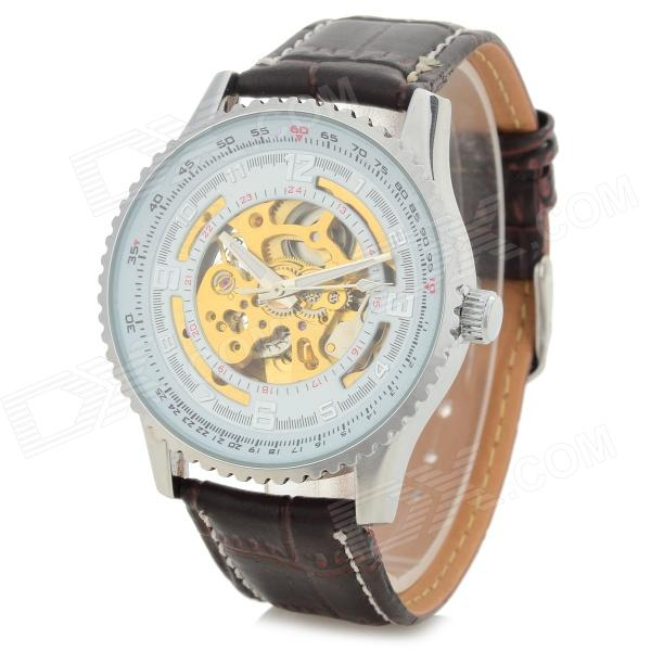 Shenhua 5952 Men's Stylish PU Band Analog Mechanical Wristwatch - Coffee + Silver (1000PCS)