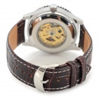 Shenhua Men's Stylish PU Band Analog Mechanical Wristwatch - Coffee + Silver (1000PCS)