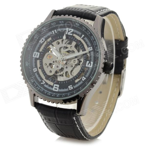 Shenhua 5952 Men's Stylish PU Band Analog Mechanical Wristwatch - Black + Silver (1000PCS)
