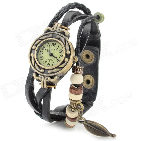 Retro Bracelet Style PU Leather Band Analog Quartz Wrist Watch - Black+ Bronze (1 x SR927) woman s retro flower dial analog quartz wrist watch w pu leather band yellow brass 1 x 377