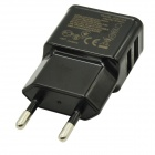 Dual USB EU Plug Adapter + Micro USB Cable for Cellphone + Pad - Black