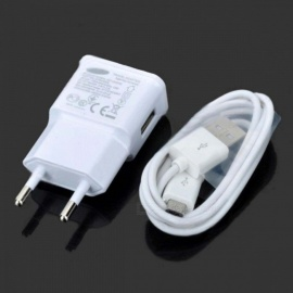 Universal USB AC Power Charger Adapter + Micro USB Cable - Black+White