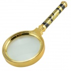Gragon Pattern Zinc Alloy + Glass 70mm + 90mm 10X Magnifier Set - Golden + Black