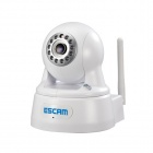 ESCAM QPT511 Onvif 720P CMOS 3.6mm Lens Wi-Fi Network IP Camera w/ 12-IR LED - White (UK Plug)