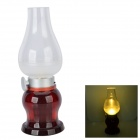 Retro Rechargeable 1W 30lm 3500K Warm White Blowing Control LED Lamp - Transparent White + Red