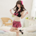Women's Fashionable Sexy Loli Style Chiffon Sleep Dress - Red + Black