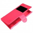 NILLKIN Protective PU Leather + PC Flip Open Case w/ Display Window for Sony Xperia m2 (S50H) - Red