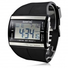 Men's Multi-Functional Rubber Band Digital Quartz Wrist Watch - Black + Silver