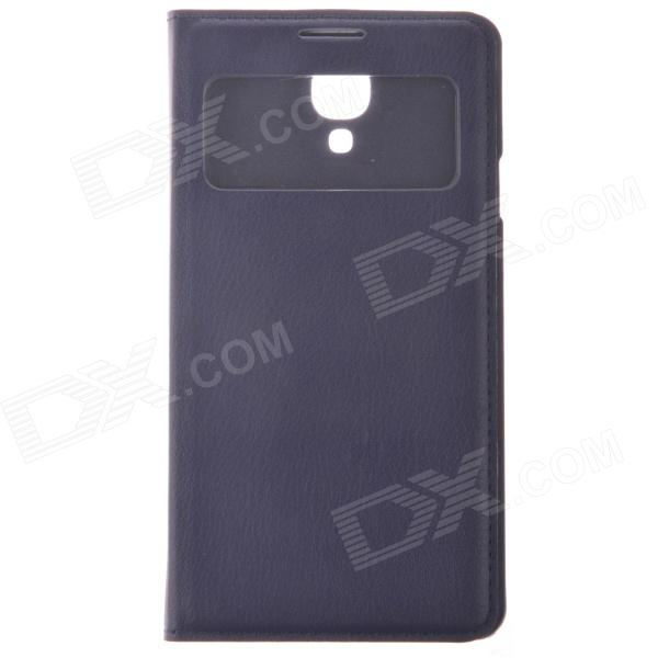 Protective PU Leather Case w/ Display Window / Plastic Back Case for Samsung i9500 - Dark Blue protective pu leather plastic case w display window for iphone 4 4s maroon