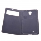 Protective PU Leather Case w/ Display Window / Plastic Back Case for Samsung i9500 - Dark Blue