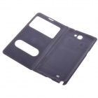 Protective PU Leather Case w/Display Window / Plastic Back Case for Samsung Galaxy Note2 - Dark Blue