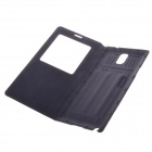 Protective PU Leather Case w/Display Window / Plastic Back Case for Samsung Galaxy Note3 - Dark Blue