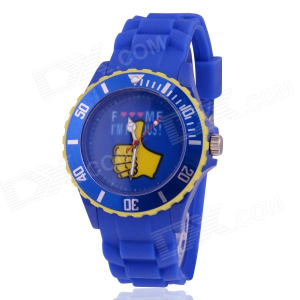 Thumb Up Pattern Silicone Band Analog Quartz Wrist Watch w/ Rotated Bezel - Blue + Yellow