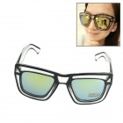 Transparent Frame UV400 Protection Resin Lens Reflective Sunglasses - Black