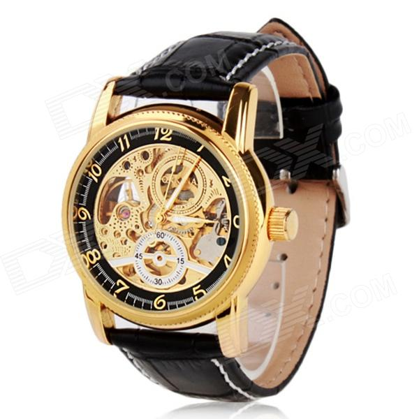ORKINA A009 Fashionable Zinc Alloy Casing PU Wristband Analog Mechanical Wrist Watch for Men