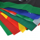 100 International Small Polyester Pongee Flags String - Red + Green + Multi-Colored