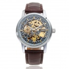 CJIABA 1033 Men's Self-Winding Auto-Mechanical PU Band Skeleton Wrist Watch - Brown + Silver