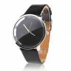 Women's Fashionable Simple Dial PU Band Quartz Analog Wrist Watch - Black