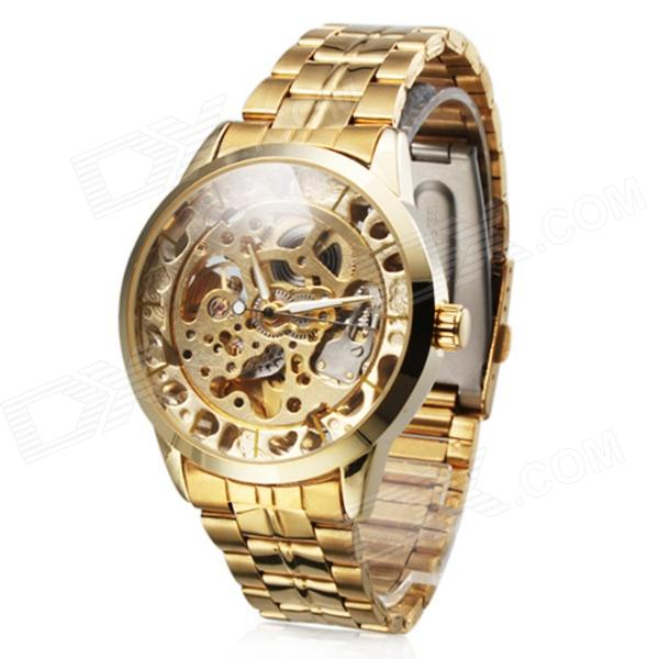 Men's Auto-Mechanical Skeleton Stainless Steel Band Wrist Watch - Golden