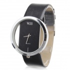 Women's PU Band Analog Quartz Wrist Watch - Black + Silver